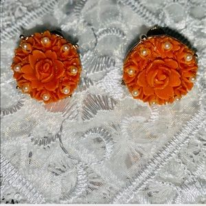 Vintage coral colored rose celluloid earrings